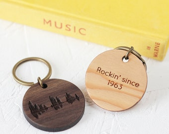 CUSTOM WOODEN KEYRING Engraved Voice Music Song Sound Wave Heart Beat Wood Anniversary Gift Sentimental Secret Message Fathers Day Science