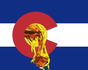 Colorado Dab Flag Cannabis Art 710 OIL Dab Concentrate Real Leaf Weed Marijuana MMJ 420 Kush - Large Format Fine Art Photo Prints & Canvas