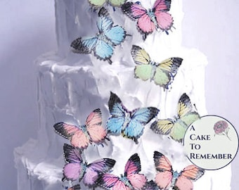 15 large edible butterflies in assorted pastel color for cake decorating. Wafer paper butterflies, wedding cake toppers, cupcake decorations