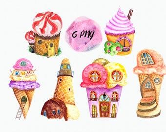 Watercolor Ice Cream Village Clip Art Set