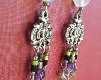 Amethyst and Swarovski Crystal Chandelier Earrings