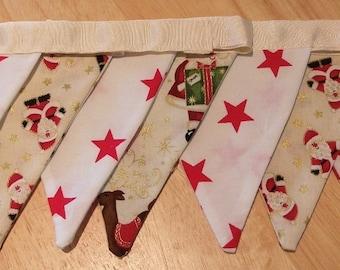 Nine Flag Handmade Christmas Bunting Stars and Santa