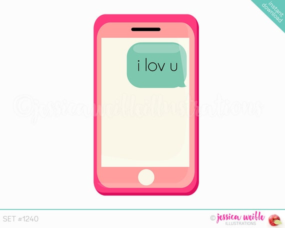 Instant Download I Lov U Text Phone Cute Digital Clipart Cell-9110
