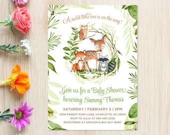 Baby Shower Invitation, Woodland Animals, Deer, Fox, Raccoon, Owl, Forest Animals, Gender Neutral, Green Wreath, Printable Invite
