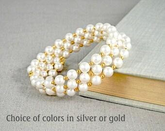 Plus Size Pearl Bracelet - Swarovski Pearl Memory Wire Bracelet - Pearl Coil Bracelet - Wedding Jewelry - Bridesmaid Gift - Gift for Her
