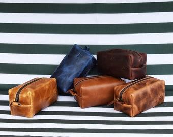 Leather Dopp Kit Groomsmen Gift Customize Leather Toiletry Bag Men's Leather Custom Dopp Kit Third Anniversary Gift Leather Gift