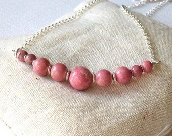 Rhodochrosite Necklace, Pink Stone Necklace, Sterling Silver Necklace, Rhodochrosite Bar Necklace, Dusty Pink Bar Necklace, Pink Gemstone