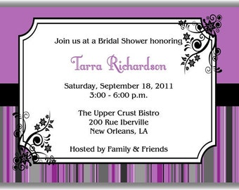 Purple Royale Personalized Printable Digital DIY Invite or Card ( Any Wording or Text)