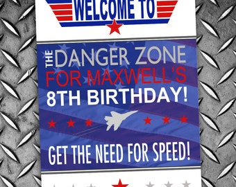 Top Gun Party Sign Fighter Jet Pilot Poster - INSTANT DOWNLOAD -  Partially Editable & Printable Birthday Party Baby Shower Welcome Sign