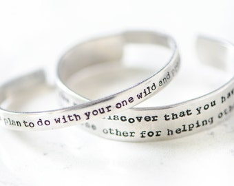 M. Oliver skinny cuff Tell me what will you do with your one wild and precious life? Silver Bracelet Hand Stamped graduation life change