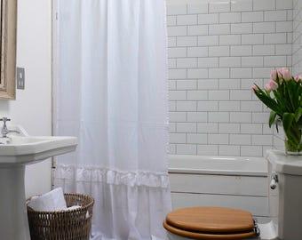 Linen Shower Curtain, Shabby Chic Curtain, Bathroom Curtain, Ruffled Curtain, Bathroom Decor, Farmhouse Decor