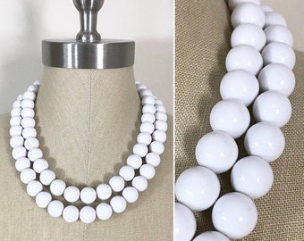 30% Off Sale Vintage Style Large White Plastic Bead Double Strand Necklace