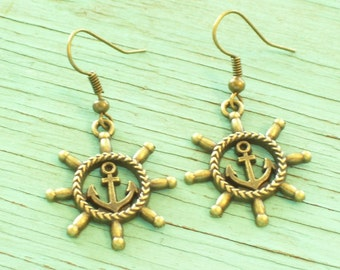 Antiqued Brass Ship Wheel and Anchor Earrings, Nautical Earrings, Beach Jewelry, Nautical Jewelry, Brass Nautical Earrings, Brass Anchor