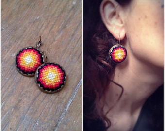 Embroidered in shades of yellow earrings