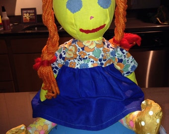 Vintage primitive rag doll Pippi Longstockings character doll
