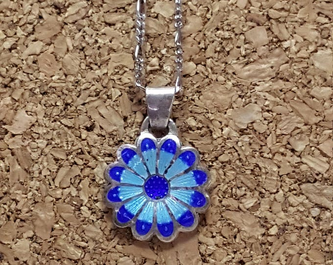 Vintage Sterling Silver and Enamel Blue Colors Blossom Flower Pendant excellent fine silver marked 980