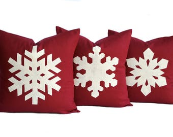 Three Snowflake Christmas Pillow covers, holiday pillow, decorative pillow, cushion, Christmas decoration