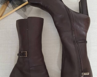 Brown leather boots womens 9M