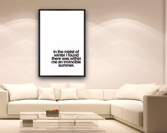 """Word Art Print :  24x36 """"In the midst of winter I found within me an invincible summer"""""""