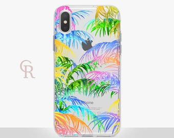 Palm Leaves iPhone X Clear Case For iPhone 8 iPhone 8 Plus - iPhone X - iPhone 7 Plus - iPhone 6 - iPhone 6S - iPhone SE - Samsung S8