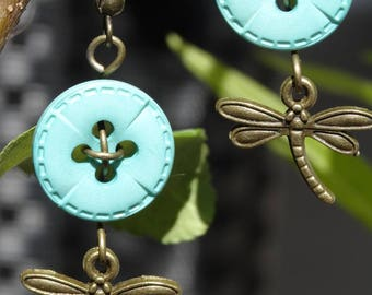 Odonata - Earrings buttons and charms