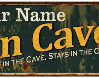 Your Name Man Cave Green Vintage Looking Metal Sign Kitchen Bar Wall Décor Garage Game Room Custom Personalized