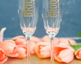 Personalized Lenox Tuscany Bride and Groom Crystal Toasting Flutes - (Set of TWO) Engraved Champagne Glasses - Wedding Gift Engagement Gift