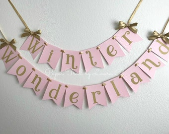 Winter Wonderland Birthday Banner in Pink and Gold Glitter. Gold Glitter Snowflake. Winter ONEderland Party Decorations. 1st Birthday Decor