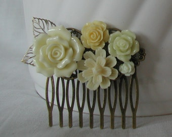 Cream Yellow Flowers Vintage Inspired Handmade Hair Comb Bridal Prom