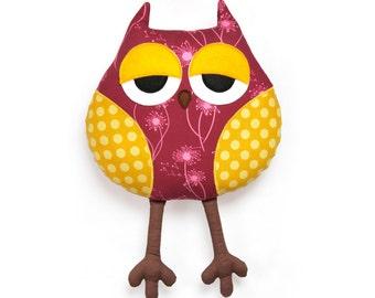 Sleepy owl softie sewing pattern - owl soft toy - PDF instant download