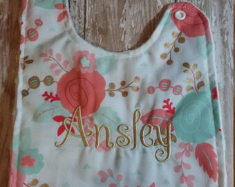 Baby Bib- Gold, Mint and Coral Foral Bib with Minky Backing, Baby Girl Bib, Baby Boy Bib, Minky Baby Bib, Gold Baby Bib