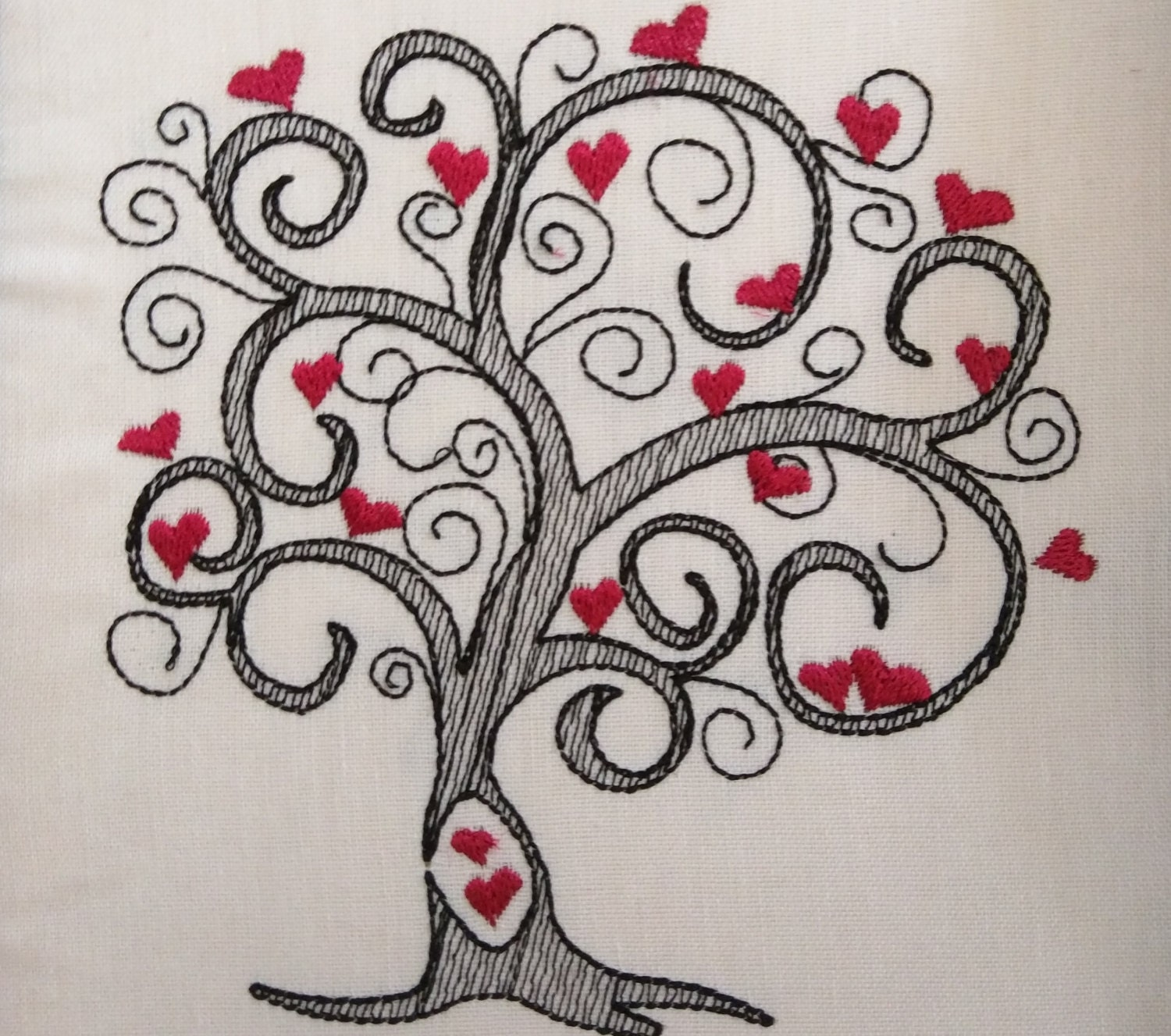 Love tree sketch stitch embroidery designs 4x4 5x7 6x10