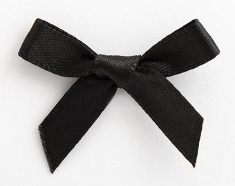 Satin Ribbon Pre Tied 3cm Bows - 100 Pack - 50 pack - 10 pack - Black