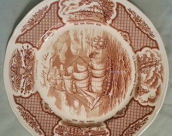 ALFRED MEAKIN china fair winds brown dinner plate 10-5/8""