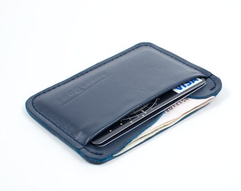 Leather cards holder.  Two slots mini wallet. Navy blue.