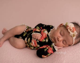 Newborn Long Sleeve Floral Romper / Scoop Back Onesie with Floral Accents