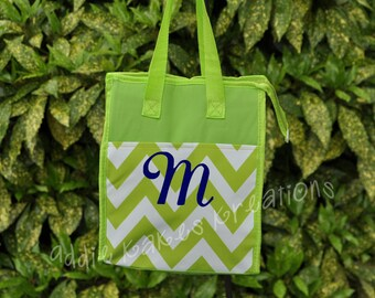 Personalized Lime Green and White Chevron Lunch Bag