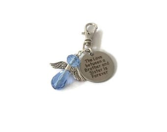The love between a brother and sister is forever bagcharm, Guardian Angel bagcharm