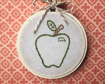 "Green Apple Hand Embroidered 3"" Hoop (Teacher Gift)"