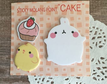 Sticky Molang Point 'Cake' Sticky Notes - Self Stick Note - Kawaii Stationery - Rabbit Chick Strawberry Cupcake