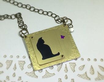 Chat avec collier de papillon noir collier chat collier-amant de chat cadeau-chat Silhouette