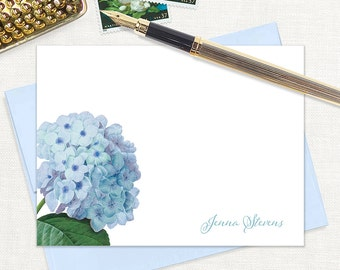 personalized flat note cards - BLUE HYDRANGEA - set of 12 cards - stationery - stationary - flower - botanical - floral - blue envelopes