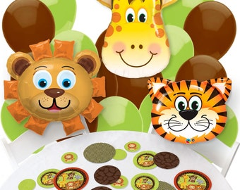 Funfari - Fun Safari Jungle Balloon and Confetti Kit -  Safari Jungle Print Balloon Bouquet and Confetti Kit Party