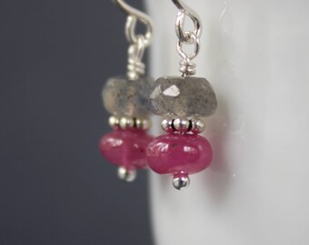 Pink Sapphire Earrings, Labradorite Earrings, Gemstone Earrings, Short Earrings, Dangling Earrings, September Birthstone
