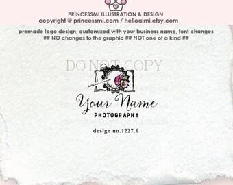 1227-6   camera logo design, logo branding, photography branding, photography logo design, camera and floral, whimsical camera