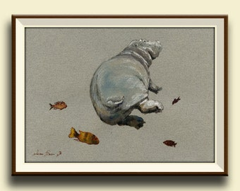 PRINT-Hippo animal- study african trophy swimming fishes watercolor painting print fish hippo - Art Print by Juan Bosco