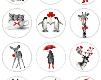 For The Love of Animals in a Circle - Ceramic Waterslide Decal - Enamel Decal - Fusible Decal - 89278