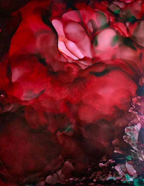 """Original Alcohol Ink Abstract Painting: """"A Single Rose"""" (11"""" X 14"""")"""