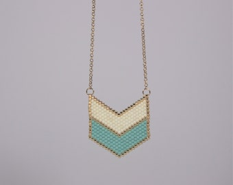 """Necklace """"Chevron white Turquoise"""""""