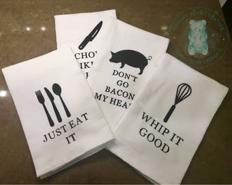 Whimsical Pun Themed Kitchen Towels (Single Towel)